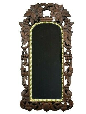 Victorian Carved Wood Black Forest Wall Mirror