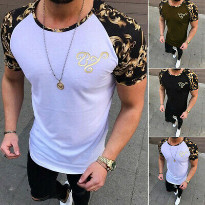 T-Shirt Homme Gym Musculaire Hauts Manche Courte Tee Shirt Slim Sport Camouflage