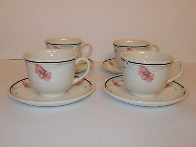 4 x Johnson Brothers Coffee Cups and Saucers Poppy Floral Style Design Lovely