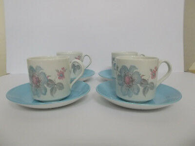 4 x Johnson Brothers Cups and Saucers Floral Cups Blue Saucers Vintage Lovely
