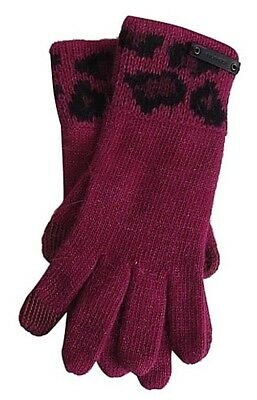 Coach Authentic Cranberry  Ocelot Knit Sparkle Gloves W Tech Texting Fingers NWT