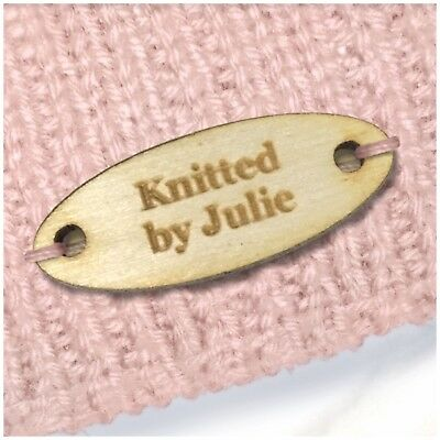 Personalised OVAL Tags Buttons Wooden Wood Handmade Products Knitted Crochet