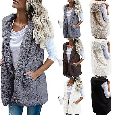 Womens Fleece Fur Body Warmer Vest Waistcoat Gilet Ladies Winter Sleeveless Coat