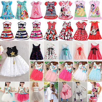 Kids Baby Girls Princess Dress Summer Tutu Party Cartoon Tunika Sundress Clothes