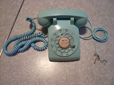 Vintage Tested Working Aqua Blue Rotary Telephone Phone Western Electric Bell