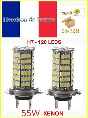 2 Ampoules H7 120 LED SMD 55w 4600k XENON Ultra BLANC Froid Phare 12V auto moto
