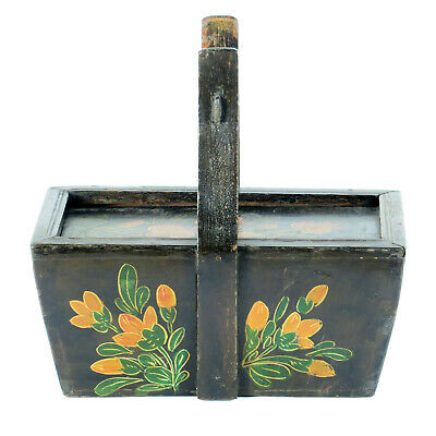 Small Antique Chinese Painted Food Utility Box, Black with Colorful Paintings