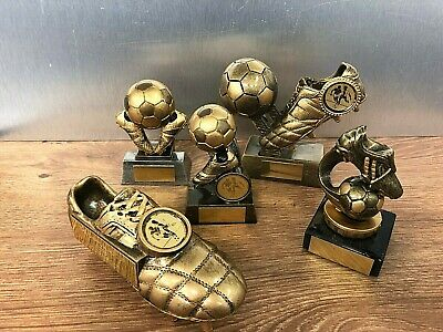 Personalised Pack of 5 Football Trophies, Top Goalscorer,Player of the year etc.