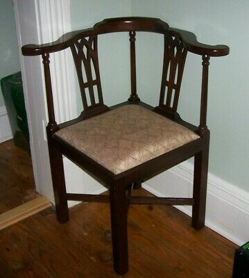 Mahogany Corner Chair Chippendale Style Vintage PICK UP ONLY