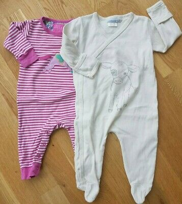 Joules JoJo Maman Bebe 6-12 months baby girl sleepsuits pink striped set horse