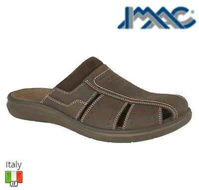 IMAC MENS Brown Leather Padded Crossover Casual Mule Sandals Size 7 8 9 10 11 12