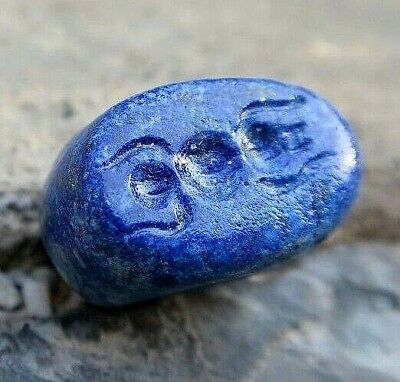 ANTIQUE Lapis Roman Intaglio Rare 4-Leg Insect Top View Oval Dome Stamp Bead
