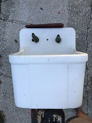 1900s Vintage Antique Crane Porcelain Cast Iron Farm Sink