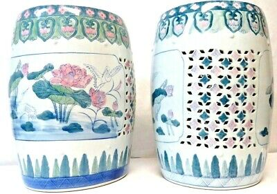Pair of Antique Asian Ceramic Porcelain Garden Stools with Crane & Lotus Flowers
