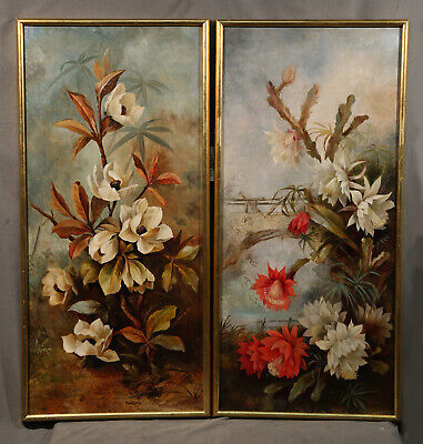 American Pair of Antique 19th Century Paintings Flower Still Life Coombs Hills