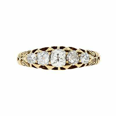 Victorian Antique 1887 18ct Yellow Gold 0.60cts Diamond Five Stone Ring Size P