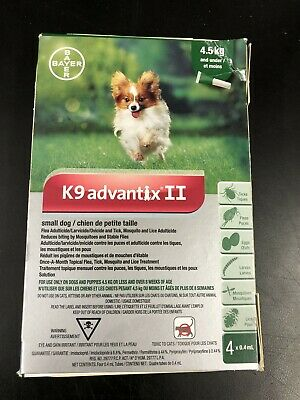 K9 Advantix II Flea Tick Mosquito prevention for small dogs 4-10 lbs 4pack #3489