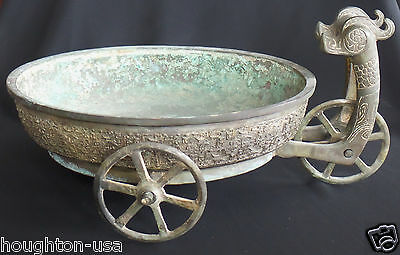 X-RARE Zhou Dyn.Chinese 3-Wheel Bronze Dragon Offering Water Basin w/Translation