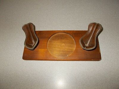Stained wood and leather stands office desk writing fountain pen holder used