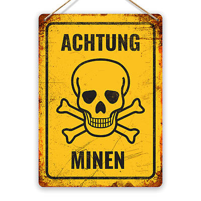 Achtung Minen! - Metal Wall Sign Plaque Art - Soldiers Army Reenactment Replica