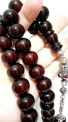 Prayer Beads, SIKMA KEHRIBAR Amber , Tespih Misbaha, OLD FATURAN BIG SIZE 14-13