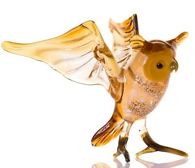 "Dark Yellow Owl Figurine Blown Glass ""Murano"" Art Animal Bird Sculpture"