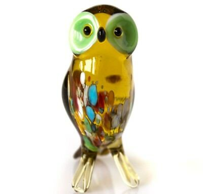 Glass owl statue, Russian blown art miniature realistic animal figurine