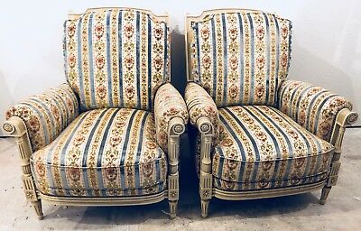 (2) Vintage Louis XVI Upholstered Club Chairs Lounge Chairs c.~1940