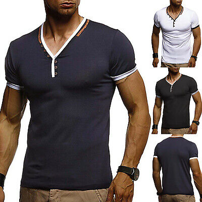 f2afeada Mens Slim Fit V Neck Short Sleeve T-Shirt Muscle Tee Blouse Tops Henley  Shirts