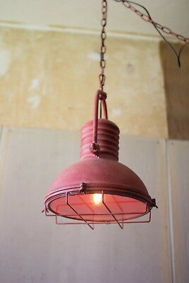 Pendant Light Antique Red Metal Hanging Ceiling Lamp Vintage Industrial Retro
