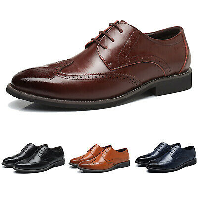 Mens Leather Brogues Smart Formal Office Work Casual Lace Up Oxford Brogue Shoes