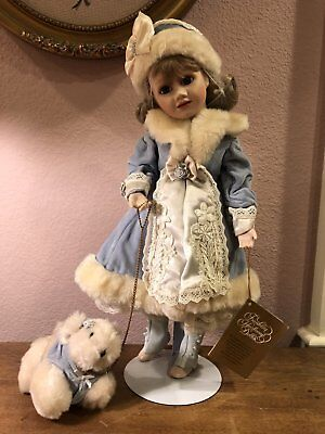 Franklin Heirloom Doll - Alexandra Louise HTF - Winter Child Girl, Dog -New $195