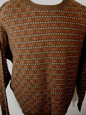 JOSEPH ABBOUD Sweater Mens Size XL Crew neck Lambswool Browns