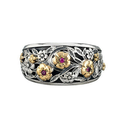 Gerochristo 2947N ~ Solid Gold, Sterling Silver & Rubies Floral Band Ring