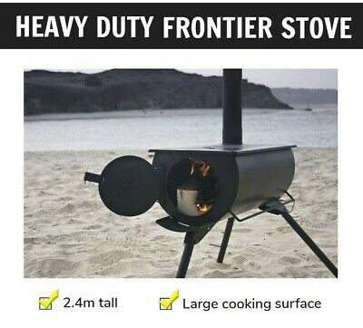 Heavy Duty Tall Chimney Frontier Stove BBQ Outdoor Camping Cooker Warmer Heater
