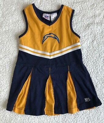 Chargers Kids Toddler Girls Cheerleader Dress Size 4 T NFL Football