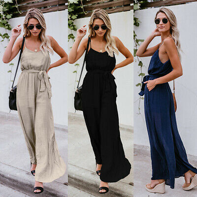 Lady Sleeveless Loose Wide Leg Jumpsuit Overalls Summer Casual Trousers Romper