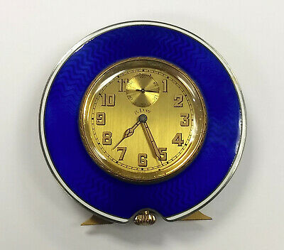 Swiss Art Deco Blue Guilloche Enamel 8 Day Travel Clock Geneve As Is