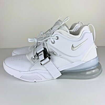 quality design bf5ba b4ad3 NIKE AIR FORCE 270 Metallic Silver White Leather Sneakers AH6772-100 Size  11.5