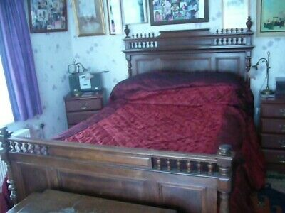 Antique Double French Bed with pocket spring matress.Overall size L.193 W.145