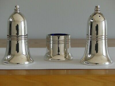 Pinder Bros Silver Plated Salt and Pepper Shakers and Mustard Pot