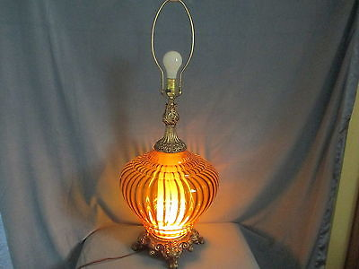 """Vintage Hollywood Regency LARGE Table Lamp Ribbed Amber Glass 35"""" Tall"""