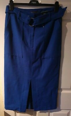 6746a4f374 M & S Collection Cobalt Blue Midi Pencil Skirt With Belt Size 10 Bnwt