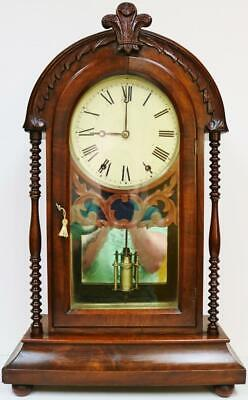 Antique American 8Day Striking Carved Mahogany Wall Clock Designed Bracket Clock
