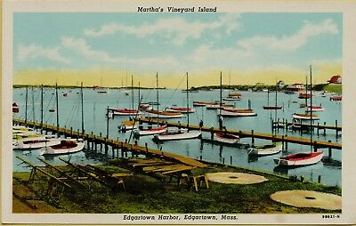 Martha's Vineyard Island Edgartown Harbor Boats Dock Edgartown MA Postcard C3