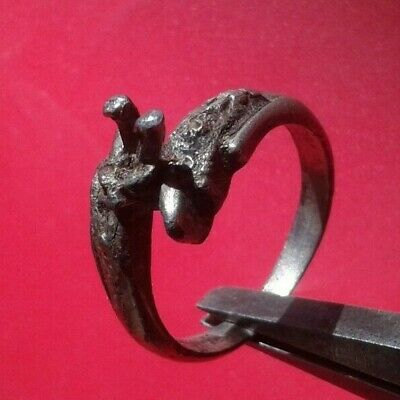LOW OUTBID !! Rare Ancient VIKING SILVER RING 9-10 AD century ARTIFACT- Wearable