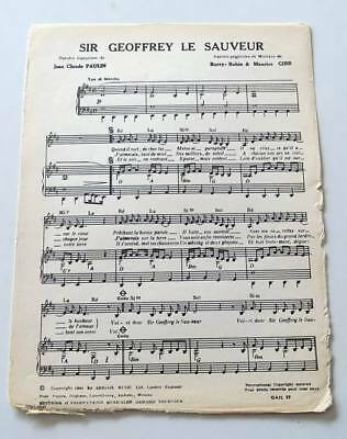 Partition vintage sheet music BEE GEES : Sir Geoffrey Saved The World * 60's