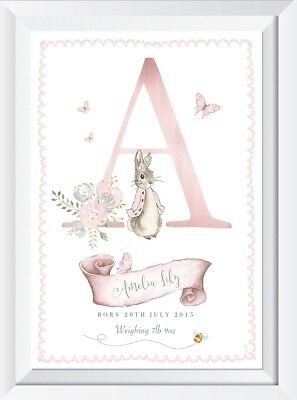 Personalised baby girl pink Peter rabbit print picture nursery walldecor bedroom