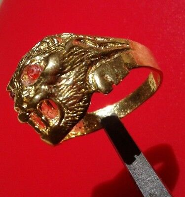 EXTREMELY Ancient VIKING BRONZE RING museum quality ARTIFACT LION HEAD