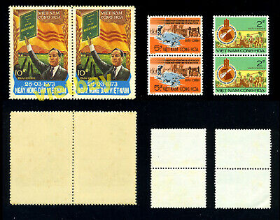South Vietnam 1973 Pair of President Nguyen Van Thieu & Farmers Day 448-450 MNH